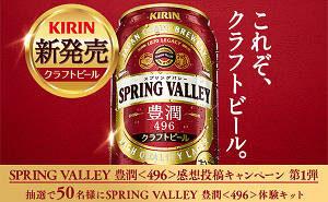 「キリン SPRING VALLEY 豊潤<496>+特製グラス+ブランドブック」
